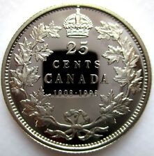 1998 CANADA 1908-1998 MIRROR FINISH STERLING SILVER 25 CENTS PROOF QUARTER COIN
