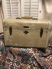Samsonite Vintage Train Case Overnight Luggage Shwayder White Marbled Carry-On