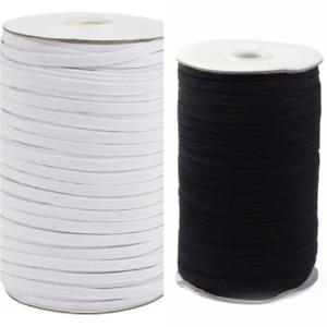 Elastic Cord White/Black Flat Elastic Cord 5/6/8/10/12 /14mm For Sewing Masks