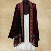 ANDREE BY UNIT WINE EMBROIDERED LONG SLEEVE VELVET BOHO CARDIGAN 1X 2X 3X