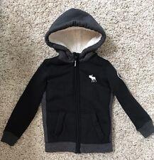 Boys ABERCROMBIE Kids Full-Zip Fur Hoodie Jacket Worn Once Black Gray Size 5 6