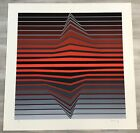 Mid Century Modern Unframed Op Art Black & Red Lines Victor Vasarely Hand Signed