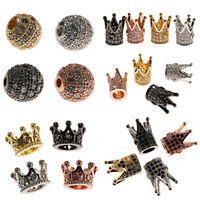 10 Pcs Cubic Zirconia Balls King Crown Brass Micro Pave Connector Spacer Beads