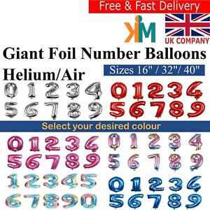 "40""32""16"" Giant Foil Number Balloons Helium or Air for Birthdays & Anniversaries"