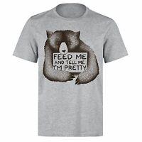 FEED ME AND TELL ME IM PRETTY CUDDLY BEAR UNISEX PH60 GREY T-SHIRT