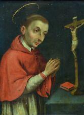 Beau tableau ancien Religieux 17ème Portrait de saint Charles de Borromée Cuivre