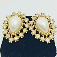 Faux Pearl Rhinestone Teardrop Vintage Pierced Earrings