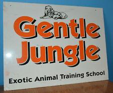 Vintage Gentle Jungle Exotic Animal Training School Metal Sign 70s Ralph Helfer