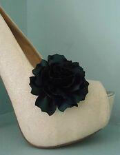 2 Dark Green Satin Flower Clips for Shoes