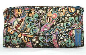 ❤️ GUY LAROCHE Multi Floral Print Fabric Cosmetics Bag w/Mirror EXCELLENT! L@@K!