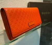 Gucci MicroGuccissima Women's Micro GG Leather Long Wallet Approved Orange