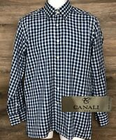 CANALI 1934 Men's Blue Plaid Long Sleeve Hidden Button Down Shirt Italy Medium