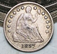 1857 Seated Liberty Half Dime 5C Good Date Choice Ungraded Silver US Coin CC7046