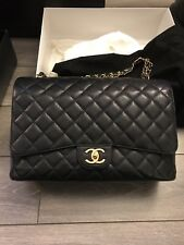 9fefbdfa637 Authentic Chanel Classic Maxi Black Caviar Leather Gold ghw double flap