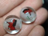 Pair of Vintage Chinese Reverse Painted Glass Beads Horse 15mm Round