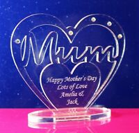 Personalised Heart with Message for Mum Birthday, Mother's Day Gift Freestanding