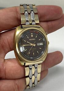 Seiko Bellmatic 4006 6030 Alarm Watch Original Coffin Link Brown Dial Needs Work