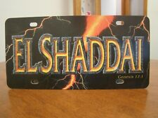 "Black Plastic ""EL Shaddai Genesis 17:1"" Lightning Bolt background License Plate"