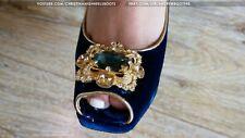 GIANMARCO LORENZI EU 38 US 7,5 peep toe high heels patent blue suede pumps