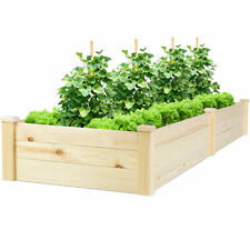 Raised Garden Bed Wooden Planter Box Grow Patio Herbs Flowers Vegetables Bed Kit