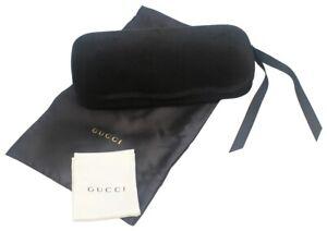 Gucci Authentic Designer Hard Velvet Clamshell Eyeglasses/Sunglasses Case Black