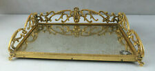 Antique Gold Brass Mirrored Vanity Perfume Dresser Tray Mid Century Victorian