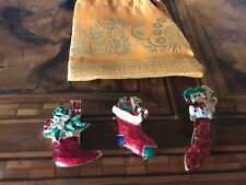 Rare! Vintage Lot Christmas  Stocking Pins Lotto Spille Calza Di Natale