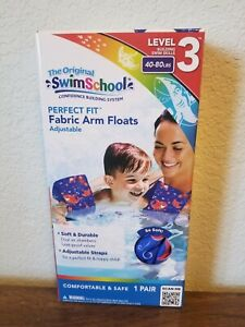 Swim School Perfect Fit Fabric Arm Floats ~ Blue Fish Fabric ~ 40 to 80 lbs