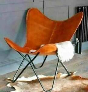 VINTAGE BROWN COW LEATHER RELAX CHAIR ARM CHAIR HANDMADE BUTTERFLY CHAIR BKF