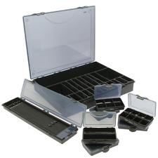 XXL TACKLE Boîte Noir 8TLG, noir rigide Rig Board & 6x bit box ,Coffre à pêche