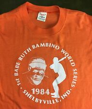 Vintage Mens M 1984 Babe Ruth Bambino World Series Baseball Orange NOS T-Shirt