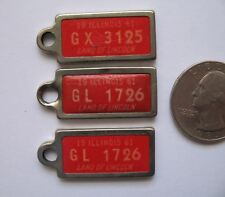 1961 Illinois Mini License Plate Keychain Fob DAV Illinois Set of Three