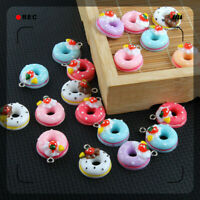 Pendant Color 22*17mm 10X Charm Jewelry Doughnut/Bread/Cake Resin Findings Mixed