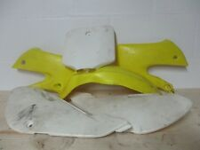 2004 Suzuki DRZ110 Plastics Kit, Shrouds, Plates, Yellow White, 04 DRZ 110 MX10