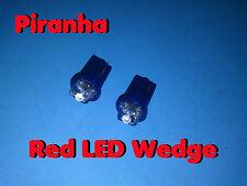 TWO LED WEDGE BASE ~  PIRANHA RED ~ MARKER LAMP 12V DC USA 12 VOLT  T-3 1/4