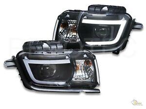 2010-2013 Chevy Camaro LS LT SS LED Plank Style Projector Headlights Black RH+LH