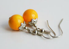 Handcrafted Yellow Howlite Genuine Semi-precious Stone Gemstone Earrings Gift
