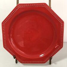 "Mancioli Salad Plate Octagonal Red Italy Pottery Majolica 8"" Beaded Vintage"