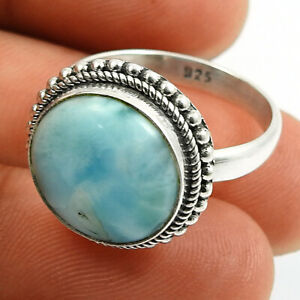 Halloween Gift Larimar Gemstone Jewelry 925 Sterling Silver Ring Size 8.5 R98