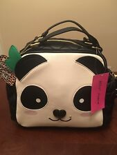 NWT Betsey Johnson Black Cream Furry Face Panda Lunch Box Tote Bag Insulated