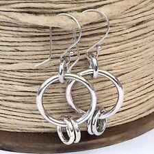 Chunky Sterling Silver Hoop Earrings, Handmade