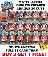 MATCH ATTAX 2017/18 SOUTHAMPTON  FULL TEAM SET 18 CARDS - BUY 3 GET 1 FREE