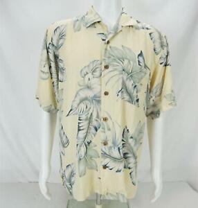Tommy Bahama Floral Print Short Sleeve Button Up Shirt Yellow/Green Men's Medium