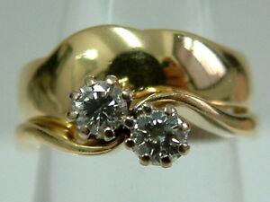 18CT YELLOW GOLD 2 STONE DIAMONDS TWIST RING MATCHING PLAIN BAND-TINY SIZE I1/2