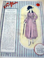 VTG 1910s PARIS FASHION & SEWING PATTERN MAGAZINE LA MODE 1917 +TRANSFER PATTERN