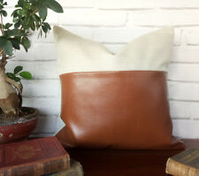 Linen-cognac faux leather pillow decorative couch cushion cover 16''x16''-1qty