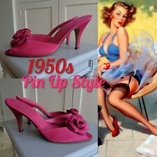 1950s New Look Pin Up Style Fuschia Pink Floral High Heel Mule Peep Toe Sandals