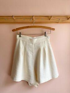 APIECE APART cotton linen textured high waist dress shorts fit flare skort 2 euc