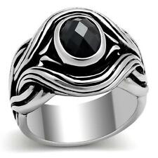GIFTS FOR MEN Size 10 T Stainless Steel Silver Tone w Black CZ Centre Stone Ring