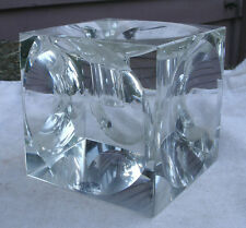 pretty Shannon Irish Crystal Cube Candle Holder,by Godinger,faceted,clear -block